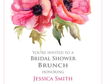 Bridal Shower Invitation - Watercolor Flowers