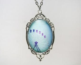 Ferris wheel bokeh hearts Photograph silver Pendant On Chain Necklace Original Handmade wearable art