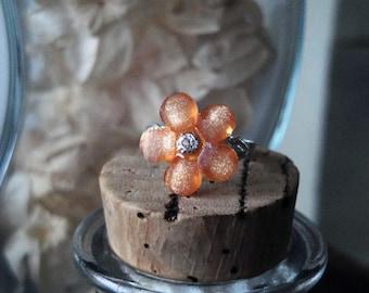 Orange Plastic Flower Ring