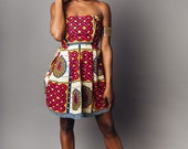 Cecilia: Burgundy, Blue & Yellow African Print Mini Dress