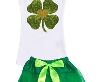 St Patricks Day, Lucky Clover, Shamrock, Green and White, Girls Tutu Clothing Set