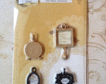 Prima Marketing Vintage Trinkets Charms Scrapbooking Jewelry Making 4 Pieces