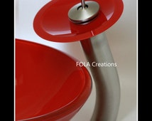 Waterfall Bathroom Faucet with Red Upgrade Disk - Choose Finish & Height