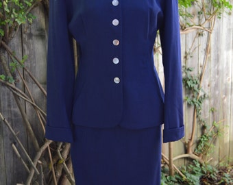 Vintage 1950s Dark Blue Bobbie Brooks Two Piece Suit with Shell Buttons