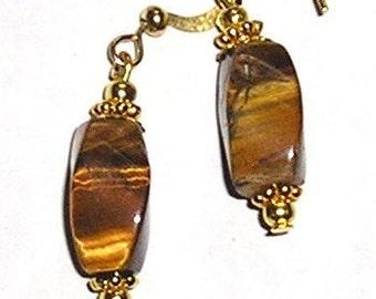 Gold Tiger's Eye Earrings, Golden Tigers Eye Gemstones, 14kt gold-filled earwires BROWN Earrings Jewelry