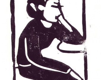 lino cut print, black and white, woman portrait, sitting waiting, on hahnemuehle fine art paper, 5,8 x 8,3 inches