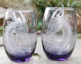 2 Purple dragon stemless wine glasses  hand  engraved wine glass,wine tumbler   host hostess gift ideas  custom glassware barware stemware
