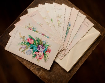 10 Beautiful Vintage Greeting Birthday Get Well Cards - Unused Scalloped Edges