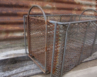 Vintage Wire Basket Industrial Industrial Rusty vtg Machine Age Wire Basket Vintage Storage Organizer Display Crate Distressed Rusted Metal