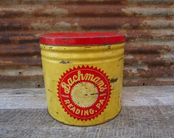 Vintage BACHMANS Pretzel Tin Metal Canister Container Yellow and Red Decor Retro 1950s-1960s Era Chip Canister Storage Organizer Metal Can