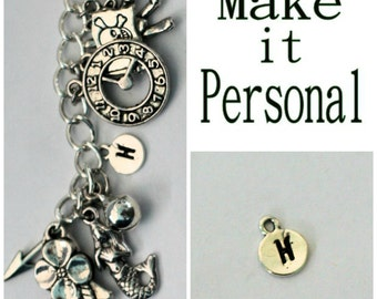 Peter Pan Jewelry Initial Tag to Personalize Any Peter Pan And Wendy Silver Tone Metal Jewelry, Hooligan Alley Necklace, Bracelet, Key Ring