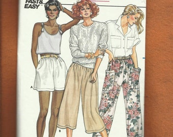 Vintage 1985 Butterick 3292 Easy Fitting Flared Shorts or Capri Pants Size 8..10..12