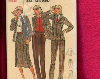Vintage 1980's Butterick 6741 Retro Jones New York Suit Pattern Size 12 UNCUT