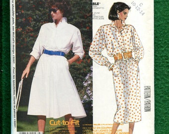 1980's McCalls 2466 Easy Fitting Shirt Dresses with Flared or Straight Skirts Size 10..12..14 UNCUT