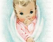 Vintage Baby Clip Art Pink Blue Printable Digital Download JPG Image