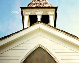 Chapel Photo, Church Photography, White Stained Glass Window Religion Worship Shabby Chic Architecture Travel Print Home Decor Wall Art