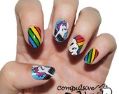 Nail polish strips. TWO SETS of Nail decal wraps. Rainbow Unicorn Design. (Mommy & Me: Available in kids and adult sizes)