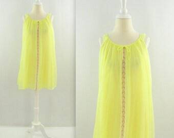 Lemon Souffle Nightie - Vintage 1960s Yellow Chiffon A-line Babydoll - Large xLarge