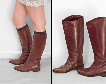Italian EQUESTRIAN Boots 1970s Chocolate Brown Leather Size 6
