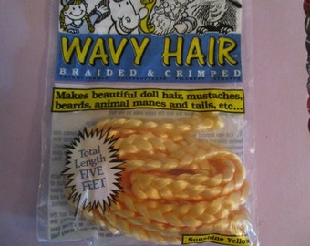 BRAID Braided Doll Hair One & Only Sunshine YELLOW Wavy Hair Braided and Crimped Vintage Package New Blonde