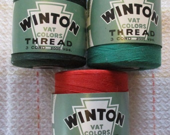 Vintage Winton Thread Mercerized Cotton Green, Terra Cotta Red Orange, large spools Size 0/3 Machine and Hand Sew lot of 3 New