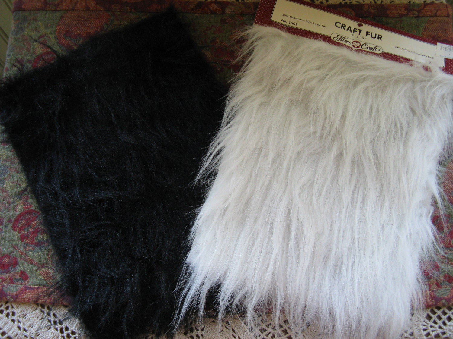 Craft fur faux long hair 2 pieces black and white with gray for Furry craft