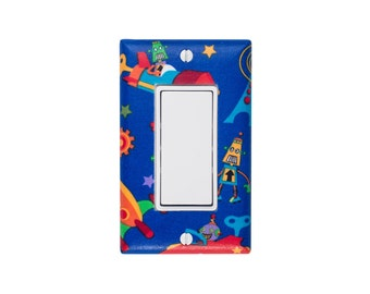 Robot Space Light Switch Plate Cover / Boyrs Room Baby Nursery / Rocker Decora / Rocket Bot N Rockets / Michael Miller