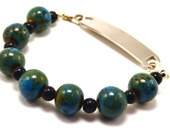 Blue-Green and Black Medical Bracelet Attachment