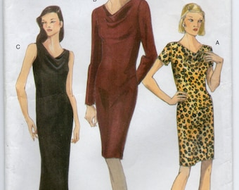Bias Dress Short Self Lined Or Long Sleeves Size 8 10 12 Sewing Pattern 1997 Vogue 9738