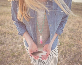 Long Necklace Hot Pink Leather Tassel Turquoise and Yellow