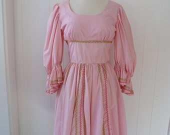 70's Pink Babydoll Dress Folk Dolly Full Skirt Hippie 60's M