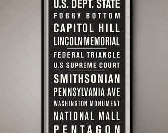 Washington DC Vintage Bus Scroll, Bus Blind Subway Banner / Wall Decor, Wall Art, Home Decor, Retro, Boho, Vintage, Shabby Chic