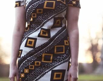 VINTAGE Geometric Mod Dress