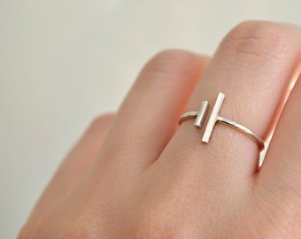 Double Assymetrical Parallel Two Bar Ring, Adjustable Sterling Silver Open Ring Minimal Geometric Modern Ring Everyday Jewelry