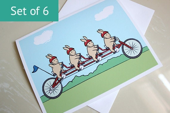 Rabbit Thank You Cards - Bicycle Bunny Blank Card Set (Set of 6)