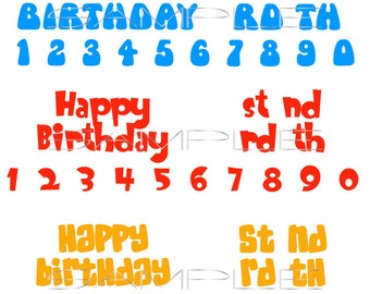 Happy Birthday with Numbers  -  SVG cut file for Silhouette and other cutting machines