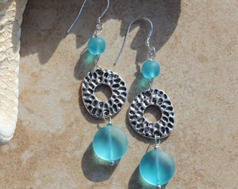 Aqua Sea Glass Dangle Earrings Sterling Silver Hammered Wire Wrapped Coin Beach Jewelry