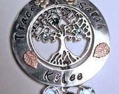 MOTHERS Grandmothers Necklace SWAROVSKI BIRTHSTONE Crystals Tree of Life Personalized Hand Stamped Family Tree includes chain Custom Order