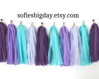 Aqua & Purple's Tassel Garland -tissue tassel garland-mermaid-Frozen-my little pony-Mermaid garland-medium tassels-birthday-monster high-