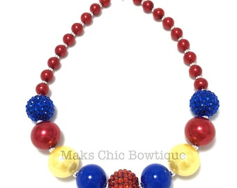 Toddler or Girls Princess Chunky Necklace - Red, Royal Blue, Yellow Chunky Pearl Necklace - Girls Princess chunky necklace - Red Necklace