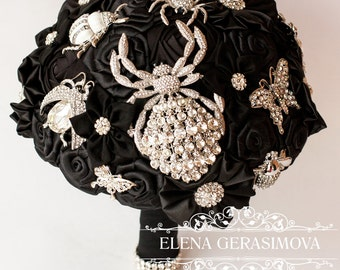 Brooch Bouquet. black spiders bugs Fabric Bouquet, Unique Wedding Bridal Bouquet