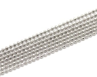 Silver Ball Chain - Antique Silver - Faceted - 10M (32ft) - 1.5mm Dia. - Ships IMMEDIATELY from California - CH383