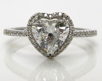 Reserved..GIA Colorless 1.16ctw Classic HEART Shape Diamond Halo Estate Vintage Engagement Ring in 14k White Gold