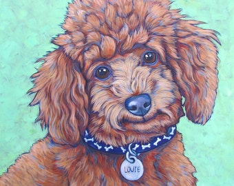 "20"" x 20"" Custom Pet Portrait Painting in Acrylic on Ready to Hang Canvas of One Dog, Cat, Horse Other Animal Pet Lover Gift or Pet Memorial"