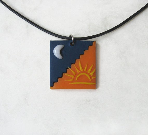 Day and Night polymer clay pendant