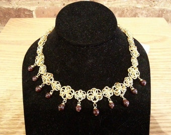Chainmaille Necklace - Gold Medulla Weave with Garnet Accents