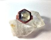 Size 6.5 Smoky Quartz Copper Hex Ring