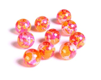 8mm Pink orange red white spotted round glass beads - Multicolor spot pattern glass beads - 10 pieces (1507) - Flat rate shipping
