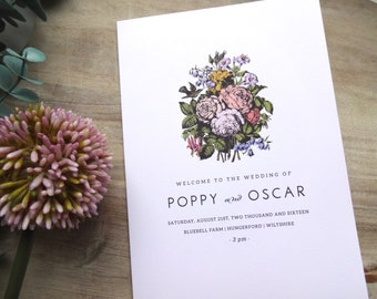 Vintage Floral A4 WEDDING PROGRAM / Order of Service Folded Card - Fully Customised.  Rustic Chic Inspired Wedding Ceremony Program