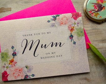 To my Mum on my Wedding Day Card. 5x7. To My Parents Card Wedding Card Bride Gift to Parents. Card for Parents.